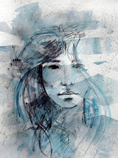 "Drawing - ""Blue Girl"""
